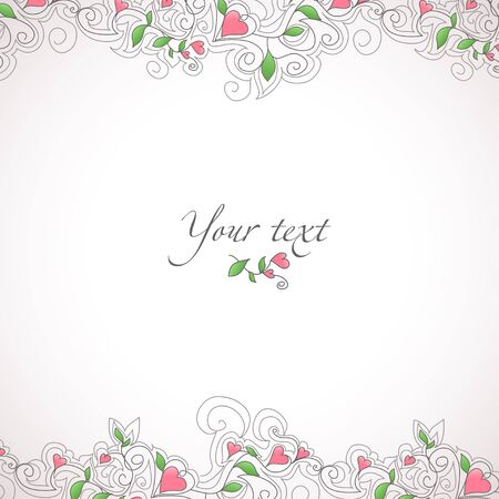 Card template with hearts ornament Stock Photo