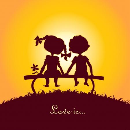 siluetas de enamorados: Puesta del sol siluetas de un niño y una niña sentada en un banco Vectores