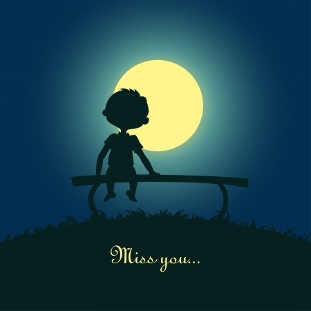 solitude: Silhouette of a boy sitting lonely in the moonlight  Design for card