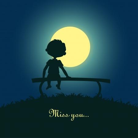 soledad: Silueta de un niño sentado solo en la luz de la luna Diseño para la tarjeta