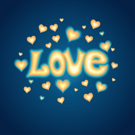 Love lettering against background with hearts  Romantic card Stock Vector - 18001263