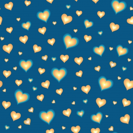 Cartoon hearts against blue background  Seamless pattern Vector