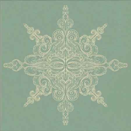 octahedral: Vintage ornamental pattern  Lacy snowflake against grungy background