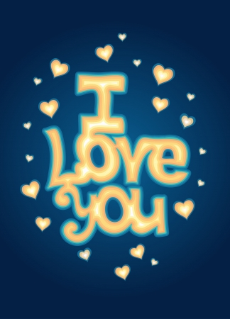I Love you  lettering against background with hearts  Romantic card photo