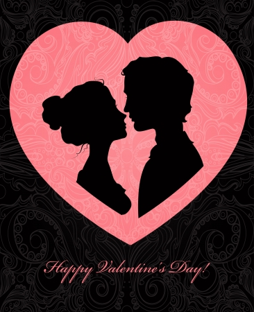 lovers kissing: Valentine s day card with silhouettes of loving couple Illustration
