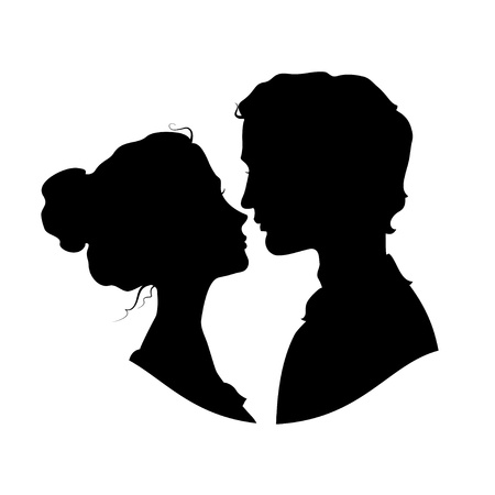 romantic kiss: Silhouettes of loving couple  Black against white background