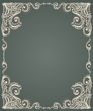 ornamental borders: Abstract floral retro pattern  Template frame design for card