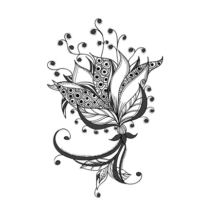 Fantasy flower, black and white tattoo pattern  Vector