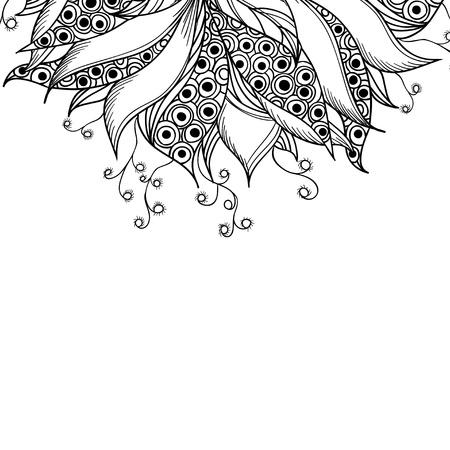 cadre noir et blanc: Mod�le de carte avec fleur fantaisie noir et blanc motif de tatouage