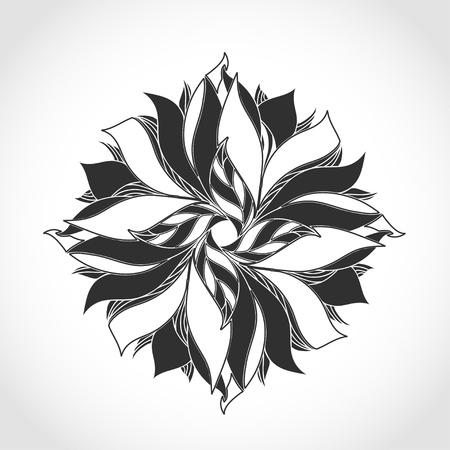 outline flower: Fantasy flower, black and white tattoo pattern