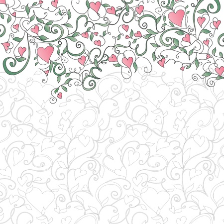 Background with hearts and floral ornament  Template for valentine s day card, wedding card, invitations  Illustration