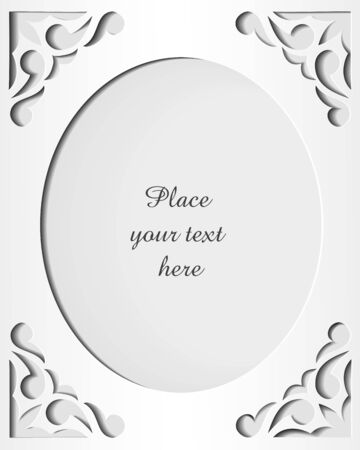 Paper cutout card with space for your text  Template frame design  Vector