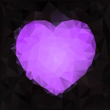 Stylized heart shape  Abstract crystal background with heart Vector