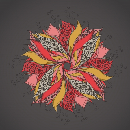 Template for card with fantasy flower Vector