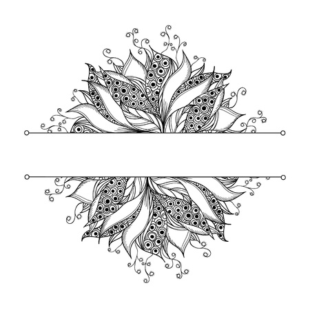 Card template with fantasy flower  Black and white tattoo pattern  Vector