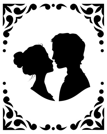 romantic kiss: Black and white silhouettes of loving couple