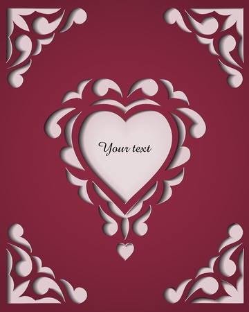 love shape: Paper cutout card with heart  Template frame design