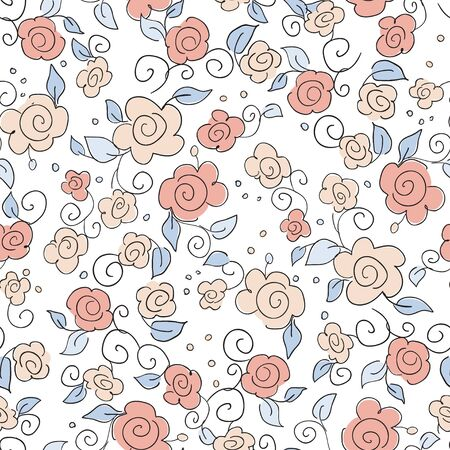 Seamless floral background  Hand written flower pattern Vector