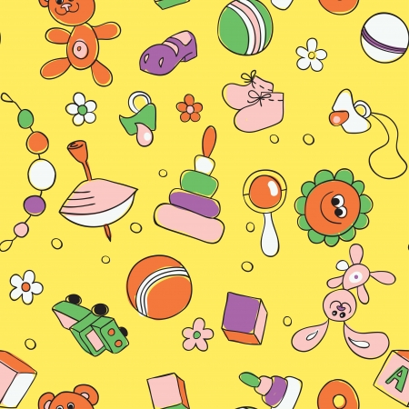 bootees: Seamless children background  Hand drawn pattern with children s toys and elements