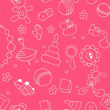 bootees: Seamless children background  Sketch with children s toys and elements Illustration