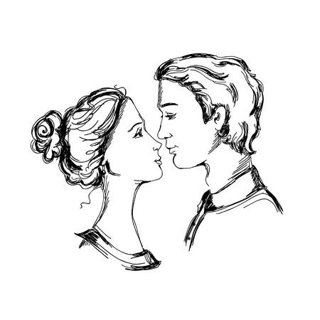 innamorati che si baciano: Schizzo di coppia di innamorati uomo e la donna sono alla ricerca a vicenda e andando a baciare Vettoriali