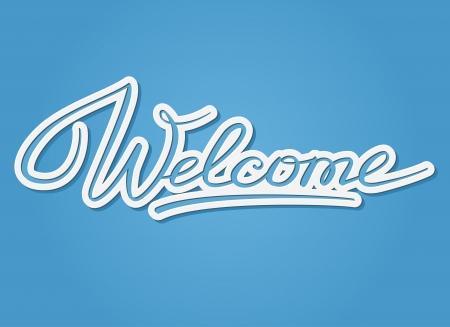 Welcome handwritten lettering  Cutout design Vector
