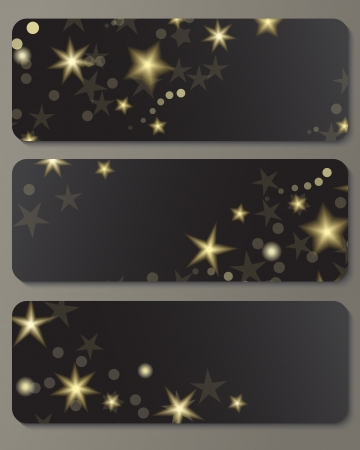 Banners with shiny golden stars against black background  Great holiday design   Vector