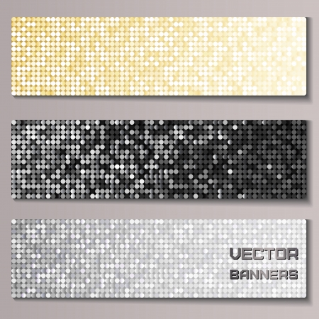 Set of banners with shiny metallic pallettes