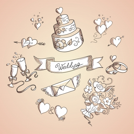 Sketch of wedding design elements  Hand drawn illustration Stock Vector - 19881937
