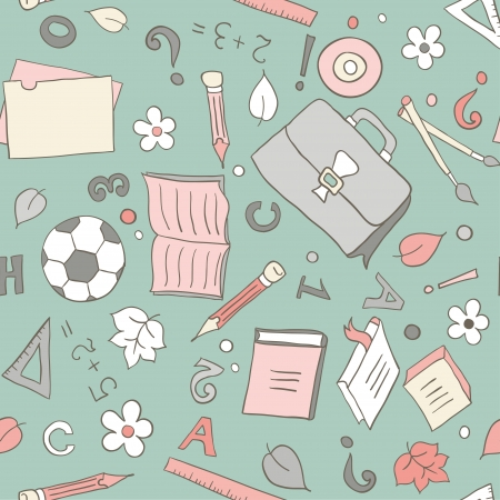 Seamless pattern with school objects Vector