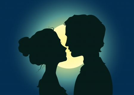 Silhouettes of kissing couple in the moonlight Vector