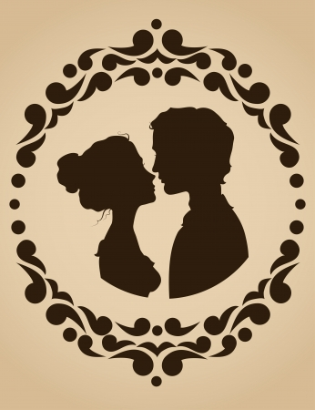 amorous: Silhouettes of kissing couple in an ornate frame