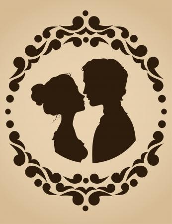 siluetas de enamorados: Siluetas de los pares que se besan en un marco adornado Vectores
