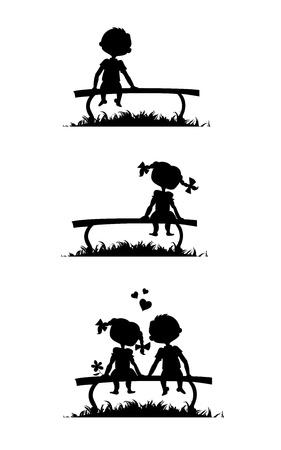 enamorados caricatura: Siluetas de un ni�o y una ni�a sentada en un banco. Historia de amor comics. Vectores