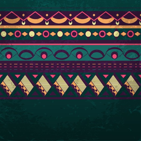 Ethnic background with space for your text. Grunge tribal pattern. Eps10 vector illustration Vector