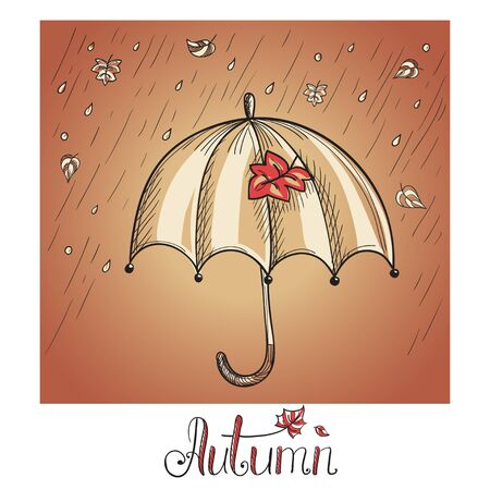 Sketch of an umbrella in the rain. Hand drawn illustration Stock Vector - 21791593