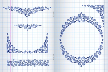 vertical dividers: Ornate frames and borders on a squared paper background