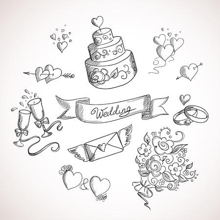 Schets van de bruiloft design elementen. Hand getrokken illustratie