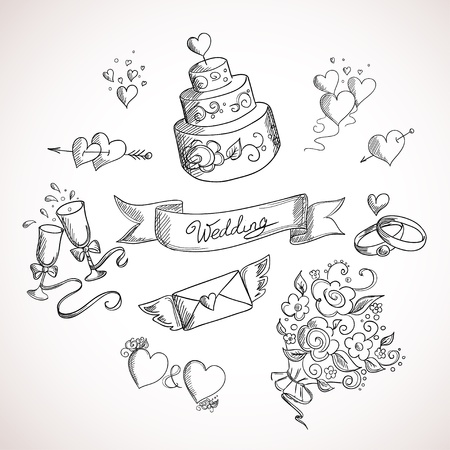 wedding symbol: Sketch of wedding design elements. Hand drawn illustration Illustration