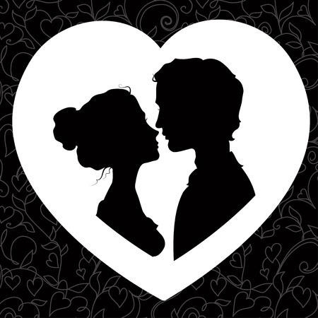 Silhouettes noires et blanches de loving couple