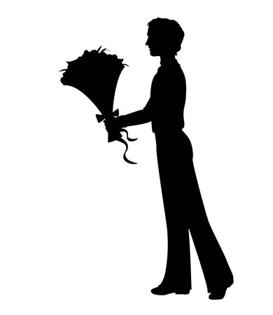 Silhouette of a man holding bunch of flowers. Hand drawn illustration Illustration