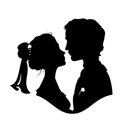 Silhouettes of bride and groom. Black against white background Vector