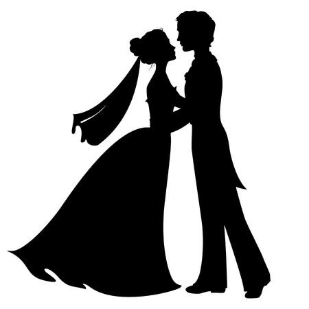 Silhouetten van de bruid en bruidegom Stock Illustratie