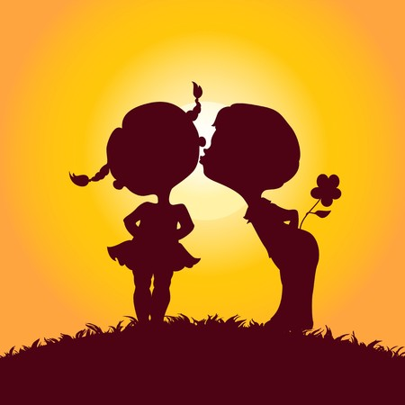 Sunset silhouettes of kissing boy and girl Vector