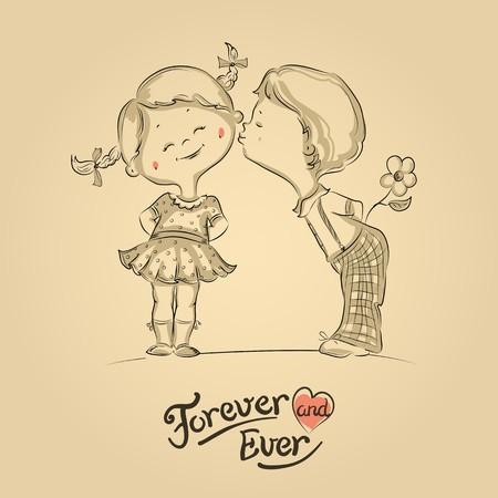 jovenes enamorados: Dibujado a mano Ilustraci�n de chico y chica besarse