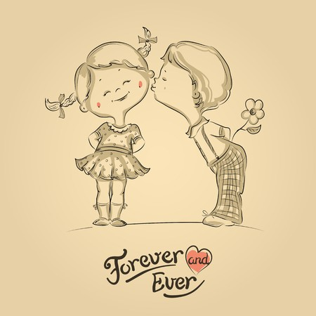 girls kissing: Hand drawn Illustration of kissing boy and girl Illustration