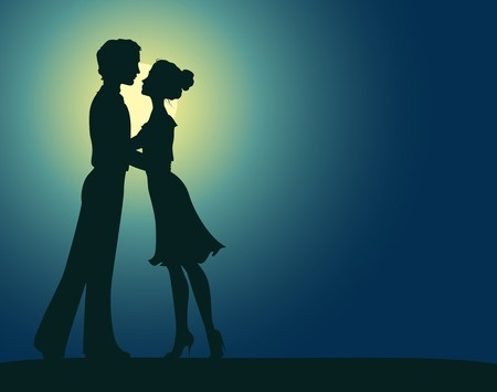 couple embrace: Silhouettes of man and woman Illustration