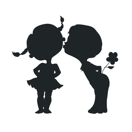 キス少年と少女のシルエット  イラスト・ベクター素材
