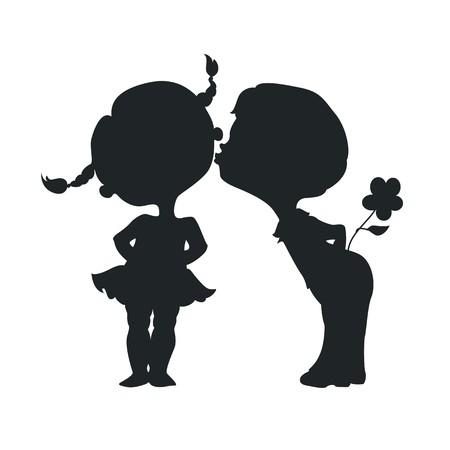 Silhouetten van kussende jongen en meisje