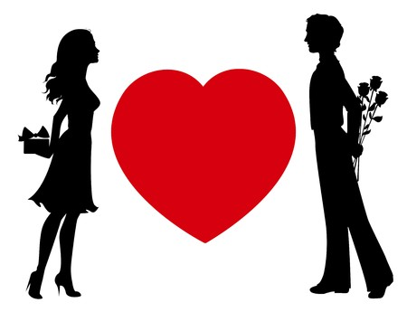 giving back: Silhouettes of man and woman with gifts Illustration